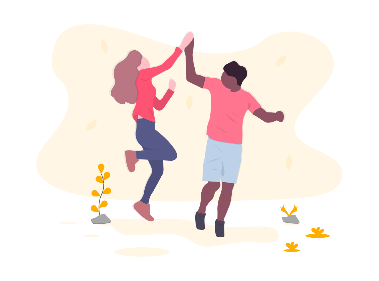 Drawing of two people giving each other the perfect high-five