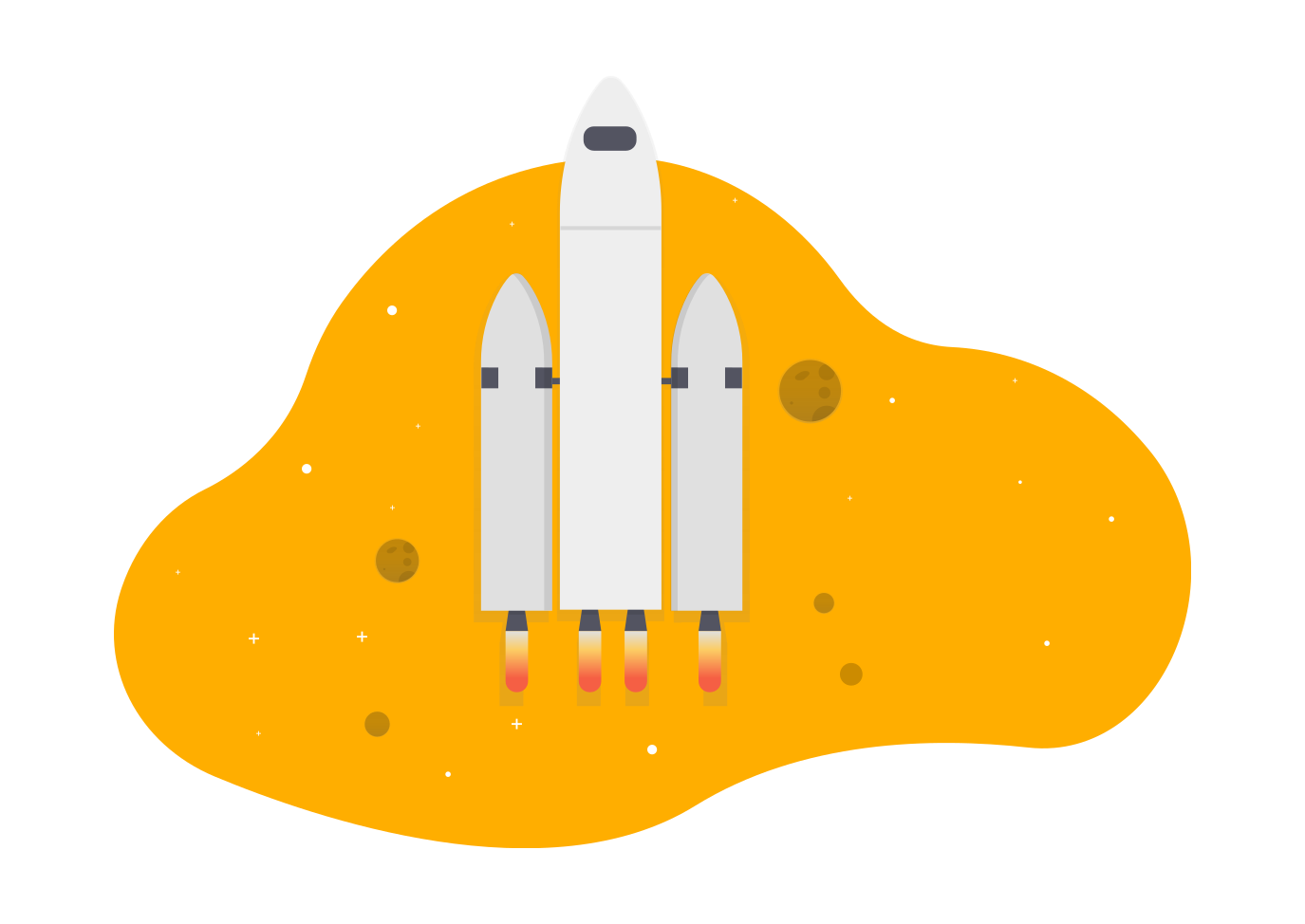 Drawing of rocket going into outerspace