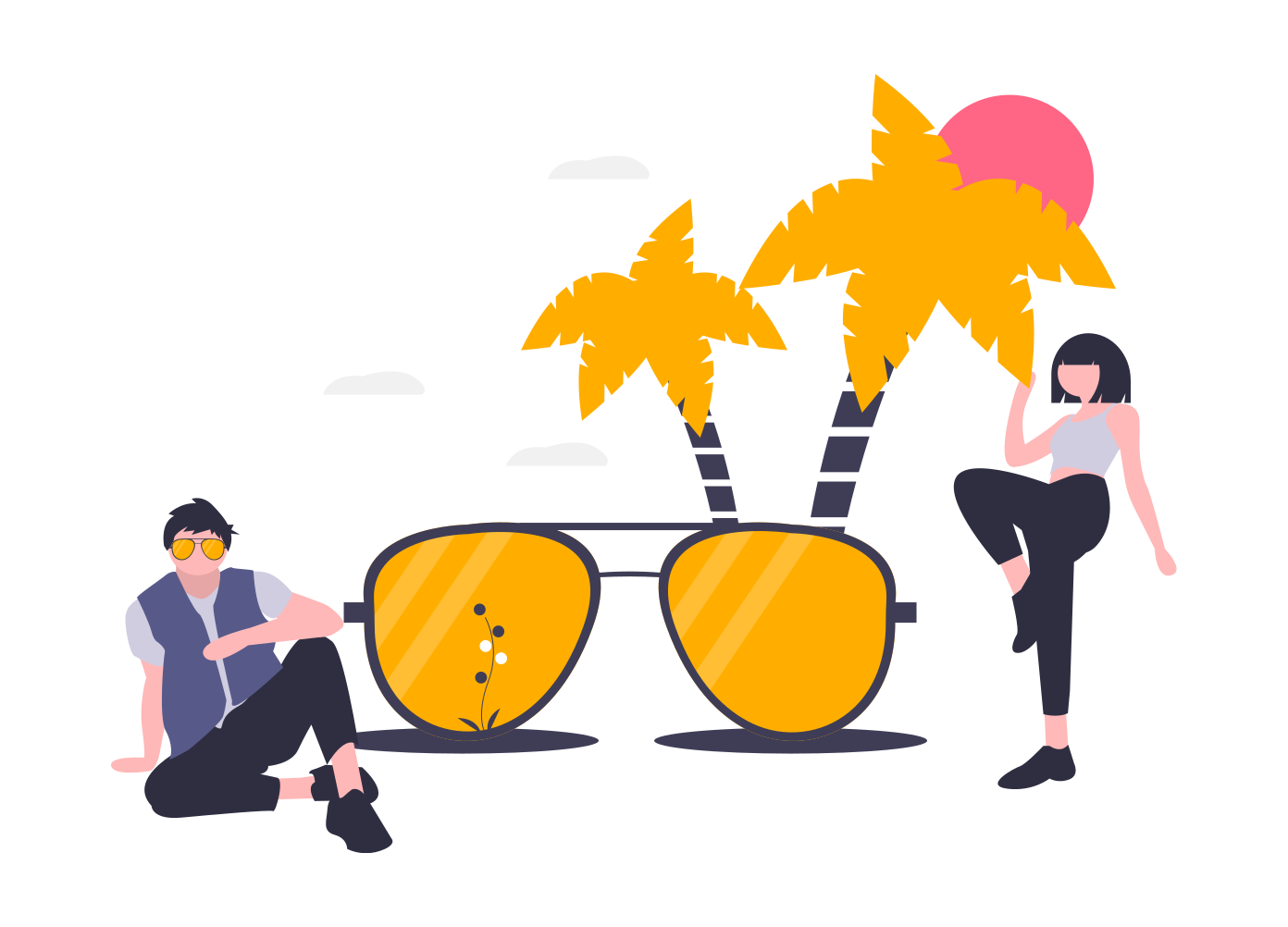 Drawing of 2 People in sunglasses
